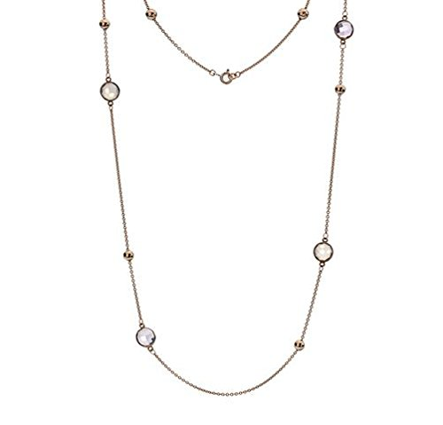Or 9 ct Rouge/rose Twist Collier de pierre de lune, Quartz Rose, améthyste 66 cm