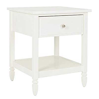 Dorel Living Vivienne, Nightstand - Traditional design Chic details such as clear acrylic knobs, and turned wood feet Features an open bottom shelf and 1 drawer - nightstands, bedroom-furniture, bedroom - 31PW2iklceL. SS400  -