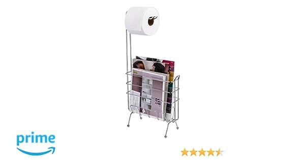 Ldr Industries Free Standing Toilet Paper Holder And Magazine Rack Bathroom Storage Organizer Rectangular Pedestal Design Bathroom Tissue Holder