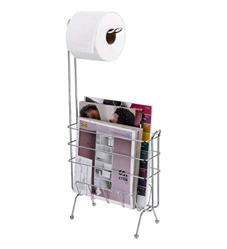 - LDR Industries Free Standing Toilet Paper Holder and Magazine Rack, Bathroom Storage Organizer, Rectangular Pedestal Design, Bathroom Tissue Holder, Chrome