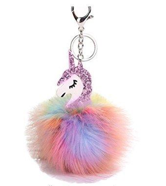 ankko niedliche flauschig Einhorn Anhänger Schlüssel Kette Schlüsselanhänger Handtasche Auto-Dekoration Geschenk, Color5 Color5