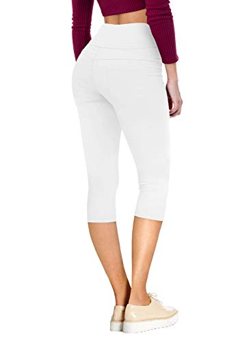 (HyBrid & Company Womens Super Stretch 5 Button Skinny Capri Q45075SKX White 14)