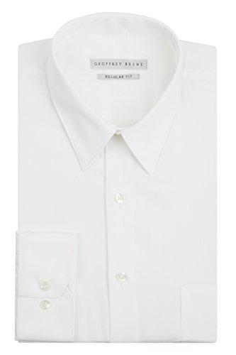 Geoffrey Beene Mens Regular Fit Sateen Solid Dress Shirt  Classic White  15 5  Neck 32  33  Sleeve