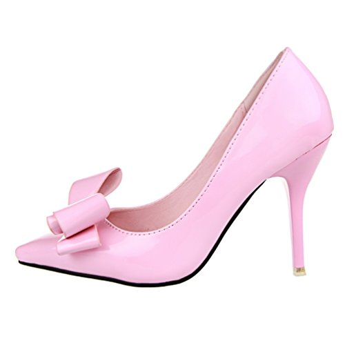 HooH Women's Bowknot Pointed Toe Candy Color Dress Pump Pink OxGsjlbtvw
