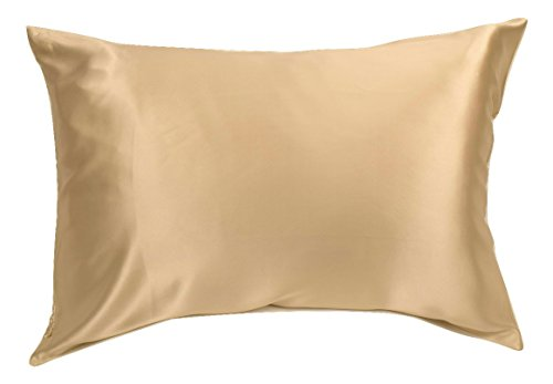 100% Silk Pillowcase for Hair Zippered Luxury 25 Momme Mulberry Silk Charmeuse Silk on Both Sides of Pillow Cover -Gift Wrapped- (Queen, Taupe) ()