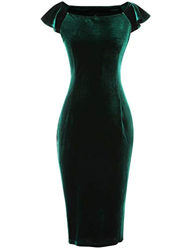GownTown Women's Velvet Retro 1950s Style Sleeveless Slim Party Pencil Dress Dark Green