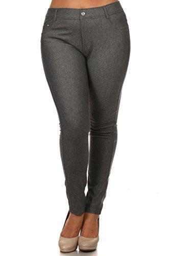 ICONOFLASH Women's Jeggings - Pull On Slimming Cotton Jean Like Leggings (Gray, 2XL)