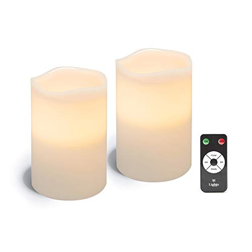 White LED Flameless Pillar Candles, 2 Pack, 4 x 6 Wax Candle Set, Melted Edge, Warm Light - Remote & Batteries Included