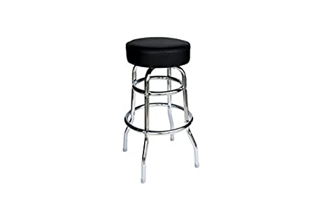 Incredible Amazon Com Bfm Double Ring Chrome Barstool Black Vinyl Seat Beatyapartments Chair Design Images Beatyapartmentscom