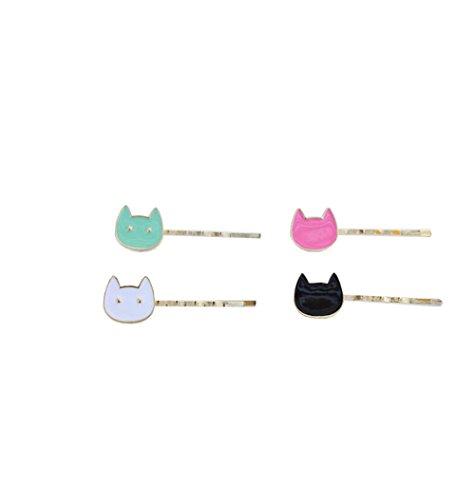 Couleur Chat Animal Hairpin Hair Clip Hairline Pince à cheveux Couvre-chef Bijoux de la tête de tête pour les femmes Fille (4 pièces)