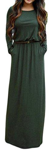 Cintura Tasche Vestiti Maxi Donne Delle Lunghe A Verde Girocollo Casuale Maniche Cruiize CYw7TqT