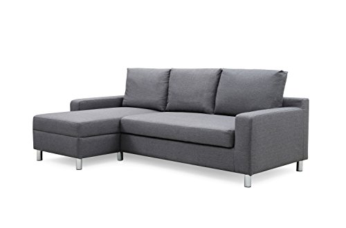 - Container Furniture Direct S0112-L Amelie Linen Upholstered Contemporary Modern Left-Sided Sectional Sofa Bed, 83.9