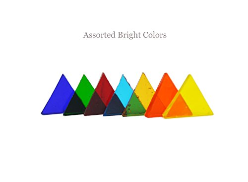Lanyani 350 Pieces Stained Glass Translucent Triangle Mosaic Tiles Cathedral Glass Assorted Bright Colors 8.8oz by Lanyani