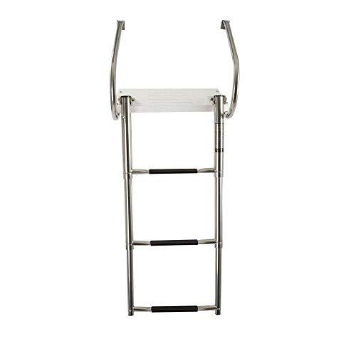 (BAYSUN Boat in-Board Swim Stainless Steel 3 Steps Telescoping Ladder with Fiberglass Platform,Under Mount Outboard Telescopic Three Step Ladder)