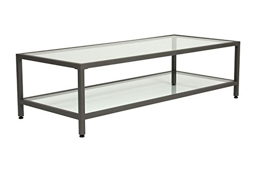 Offex Camber Collection Rectangle Clear Glass Coffee Table - Pewter -