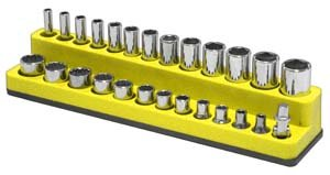 Mechanics Time Savers (MTS723) 1/4 in. Drive Magnetic Yellow Socket Holder 4-14mm ()