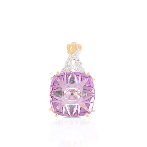 Gold Pink Amethyst Pendant - Lehrer KaleidosCut 10K Yellow Gold Pendant For Women 5 Cttw Cushion Pink Amethyst Emerald With Natural Diamond