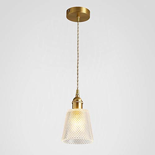 Qyyru Vintage Pendant Light Fitting Modern Retro Industrial Lamp Holder Antique Brass Ceiling Glass Lantern Modern-Style Pendant Cord Light Set with LED Edison (Color : B, Size : Single Head) ()