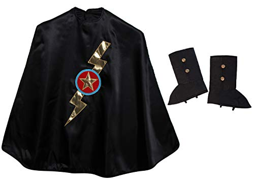 Black Shazam Knight Cape & Black Boot Tops Dress Up Accessory Costume Set, Size Large (6/8) ()