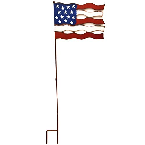 40″ Patriotic Garden Stake 4th of July Americana Star Stakes Vintage White Red and Blue Stars and Stripes Flag Metal Yard Decorations for Patio Lawn Outdoor Decor USA Flags American Sign Gift Boutique