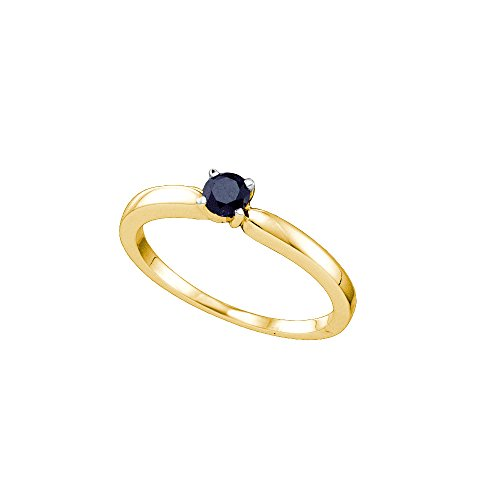 Size 8.5 - 10K Yellow Gold Black Diamond Classic Traditional Engagement Ring - Single Solitaire Round Black Diamond - (1/4 cttw) (Ring Gold Single Classic Yellow)