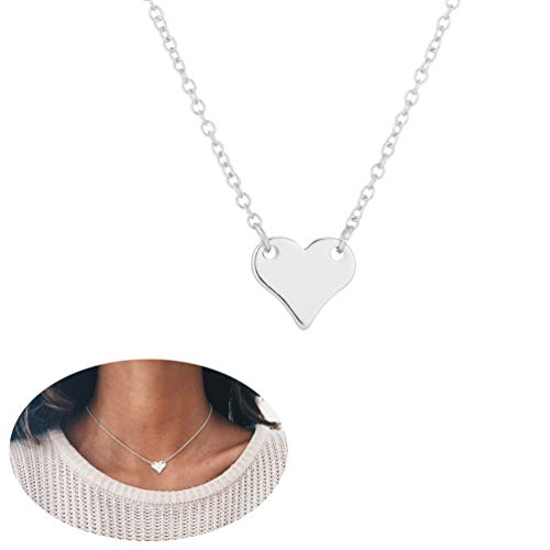 YOOE Charm Mini Heart Choker Necklace,Sweet and Lovely Love Pendant Necklace,Friendship Necklace,Best Friend Necklaces for Women Girls (Silver)