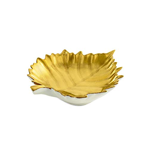 William Yeoward Porcleain VINE GOLD LEAF (Soap, Candy, Nut, side) DISH #801360
