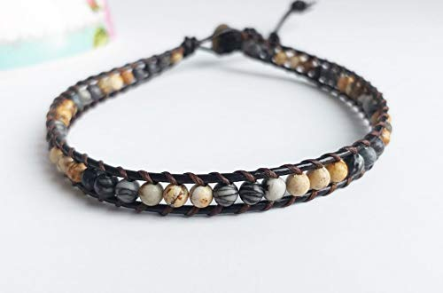 Jasper Zebra Necklace - Zebra jasper brown jasper choker necklaces leather choker men women choker gray brown choker beaded necklaces friendship bracelets
