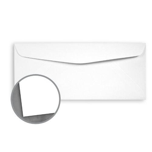 Loop Smooth Pure White Envelopes - No. 10 Commercial (4 1/8 x 9 1/2) 24 lb Writing Smooth 30% Recycled 500 per Box Pure White 24 Lb Writing