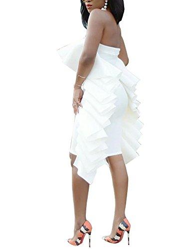 Tina Beauty White Bustier Peacock Solid Ruffle Mini Dress