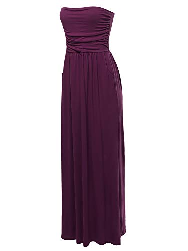 A2Y Solid Viscose Tube Top Double Layer Side Pockets Maxi Dress Dark Plum S ()
