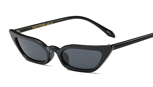 Freckles Mark Super Skinny Narrow Small Pointed Semi Cat Eye Women Sunglasses (Black, - Branded Eye Glasses
