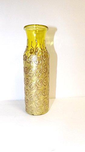 Yellow and Gold Swirled Vase (Swirled Glass Vase)