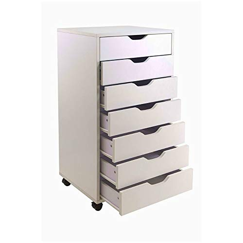 (Rolling Cart with Drawers Storage White Chest 7 Drawer Cabinet Dresser Utility Portable Closet Unit Cart Wood Organizer Books Tools Toys School Supplies Small Items For Home Office & eBook by BADAshop)
