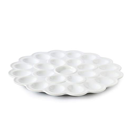 (13.5-inch Porcelain Deviled Egg Tray/Dish White Ceramic Egg Platter with 25-Compartment)
