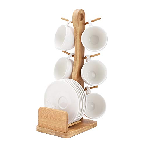 Porcelain Tea Cup Set,Coffee Cups and Saucer with Bamboo Rack(6 Piece Set) -