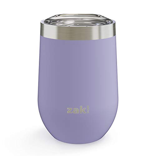 (Zak Designs 11.5oz Wine Tumbler with Stainless Steel Double Wall Insulation and Lid - Keeps Beverage at Constant Temperature, and Spill-Proof Design is Perfect for Any Outdoor Activity, 11.5oz Iris)