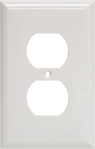 Power Gear Oversized Duplex Receptacle Wallplate, White, Unbreakable Nylon, Screws Included, 40019 - Jasco Wall Plate