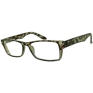 Classic Rectangular Negative Strength Prescription Eyewear Glasses Power -1.00 thru -2.25 (Grey Tortoise, -2.50)