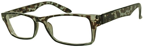 Classic Rectangular Negative Strength -1.75 Eyewear Glasses Power -1.00 thru -2.25 (Grey Tortoise, -1.75) by Sunglass Stop