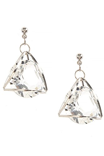 THE JEWEL RACK CAGED CRYSTAL TRIANGLE DROP EARRINGS (Clear/Silver) (Crislu Drop Necklace)
