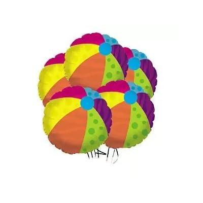 PMU Beach Ball Balloon (18 Inch Mylar) (Pkg of 5): Health & Personal Care