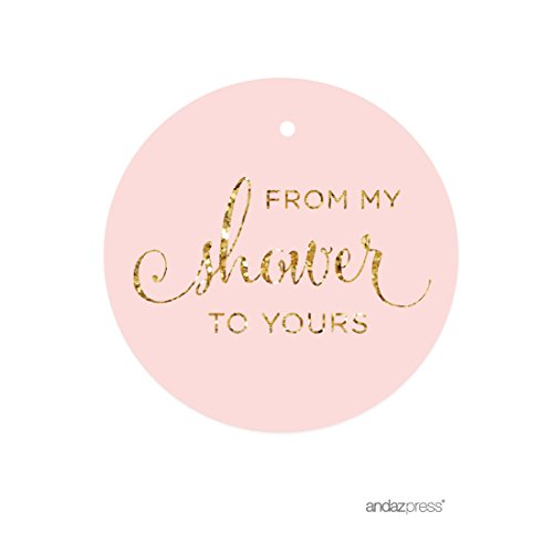 Andaz Press Round Circle Party Favor Gift Tags, From My Shower to Yours, Blush Pink Gold Glitter Print, 24-Pack Favor Gift Tags