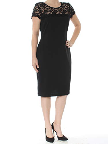Connected Women's Lace Seamed Shift Dress (6, Black)