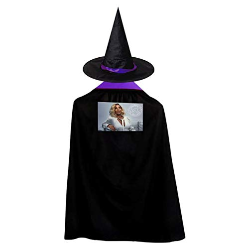 DOULADOU Mary J Blige Halloween Costumes Witch Wizard Cloak Party Cape with Hat Role Play Cosplay for Grils Boys Purple