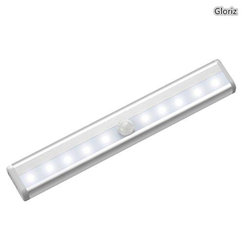 Lámpara LED de Armario, Gloriz Barra de Luz con Sensor de Movimiento 10 LEDs Lámpara LED Nocturna, Luz LED para armario,...