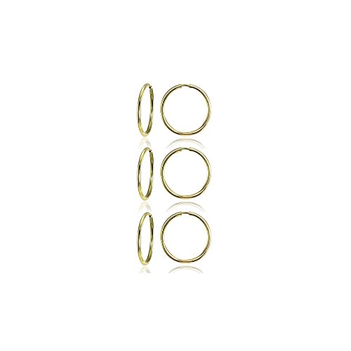 14K Gold Tiny Small Endless 10mm Thin Round Lightweight Unisex Hoop Earrings, Set of 3 Pairs (Earring 14k Hoop Set)