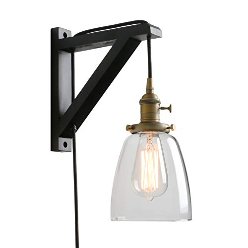 Pathson Retro Wall Light with On Off Switch, 1-Light Plug in Wall Sconce for Bedside, Industrial Style Wall Lamp Fixtures Suitable for TV Wall, Hotel, Bedroom, Living Room (Antique) (Lamps Proper Size Bedside For)