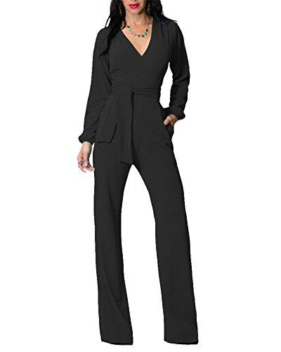 Venta Pantalones Negro Mujeres Mangas Cuello Elegante Noche Otoño Skinny Slim Fiesta Largos Verano V Vestido Jumpsuits Zawqz88
