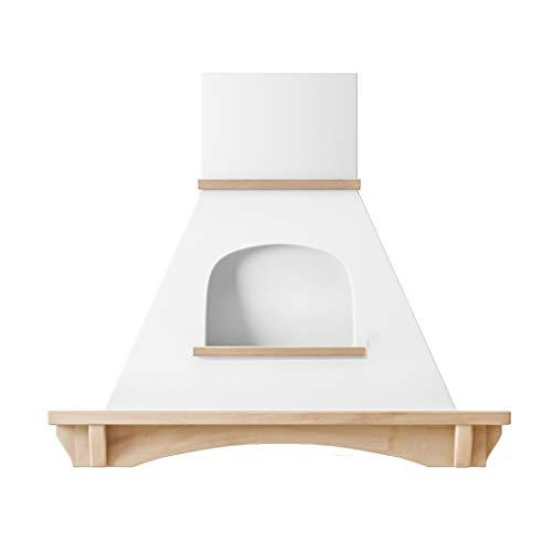 (Futuro Futuro Wall-mount Boston 36 Inch Kitchen Range Hood - Classic Retro Italian Design - White Steel & Wood Unstained Ultra-Quiet with Blower)